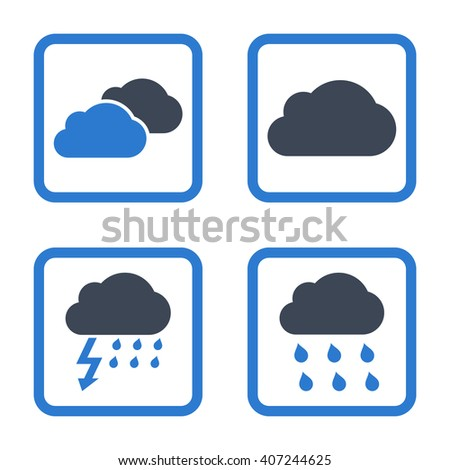 Rain Clouds vector bicolor icon. Image style is a flat icon symbol inside a square rounded frame, smooth blue colors, white background.