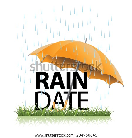 Rain date umbrella in the rain. EPS 10 vector, grouped for easy editing. No open shapes or paths. - stock vector