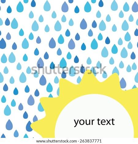 Rain doodles and sun pattern - stock vector