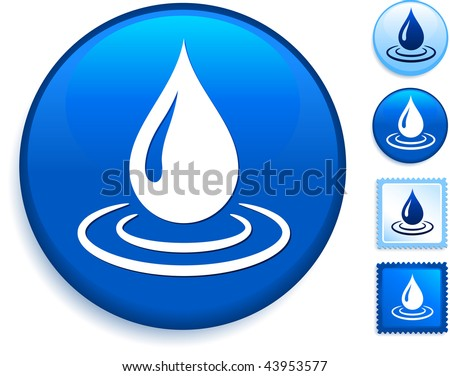 Rain Drop Icon on Internet Button Original Vector Illustration