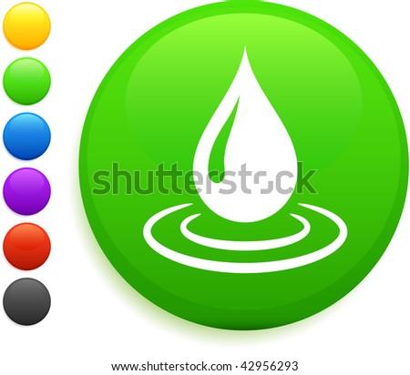 rain drop icon on round internet button original vector illustration 6 color versions included - stock vector
