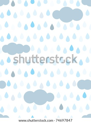 Rain drops and clouds seamless pattern - stock vector