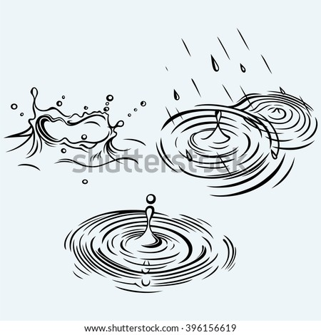 Rain drops in the water. Isolated on blue background. Vector silhouettes - stock vector