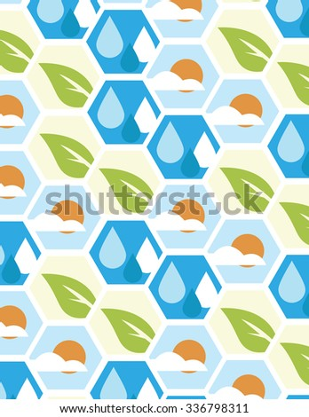 Rain drops; leaf; sun with cloud pattern - stock vector