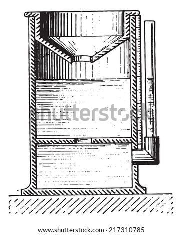 Rain gauge or Udometer or Pluviometer or Ombrometer, vintage engraved illustration. Dictionary of words and things - Larive and Fleury - 1895. - stock vector