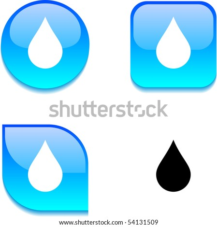 Rain glossy vibrant web buttons. - stock vector