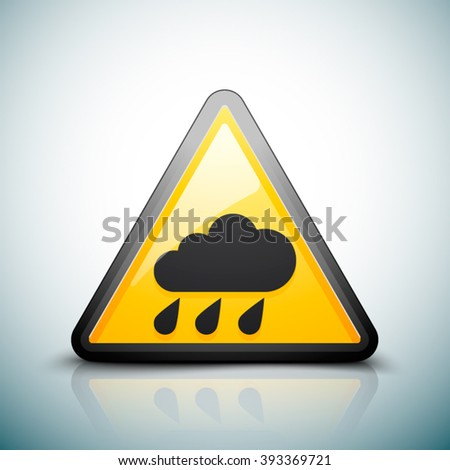 Rain hazard sign - stock vector