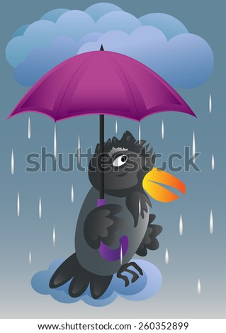 Rain, heavy rain. Crow under the umbrella