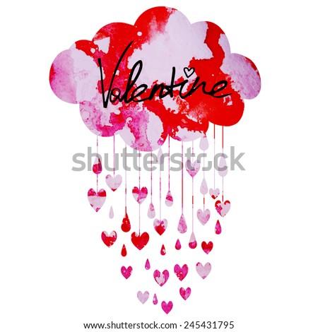 rain of hearts - stock vector
