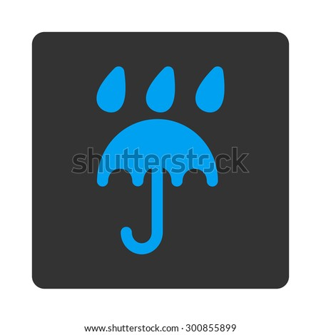 Rain protection icon. Vector style is white and gray colors, flat rounded square button on a white background. - stock vector