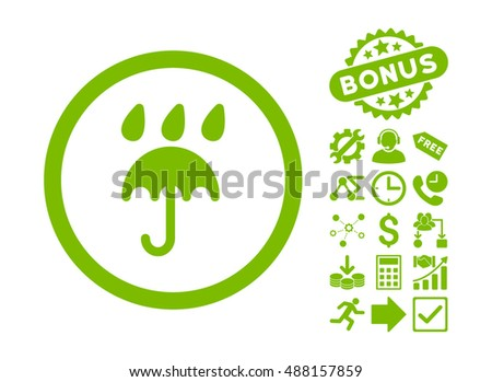 Rain Protection pictograph with bonus pictograph collection. Vector illustration style is flat iconic symbols, eco green color, white background.