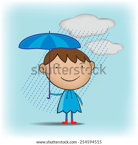 Rain season with a man - stock vector