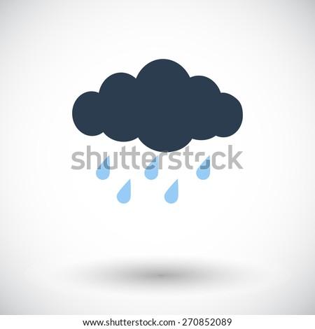 Rain. Single flat icon on white background. Vector illustration. - stock vector