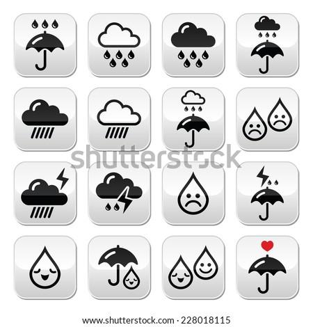 Rain, thunderstorm, heavy clouds  vector buttons set  - stock vector