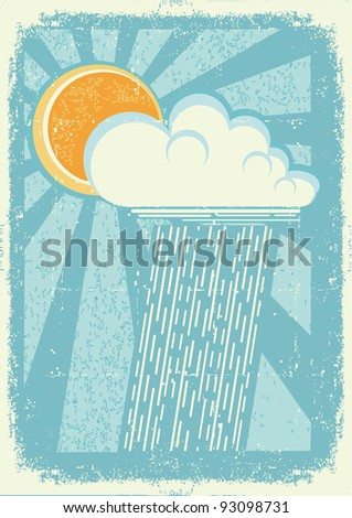 Rain.Vector vintage card with raining sky on old paper texture - stock vector