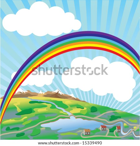 Rainbow above earth. Vector.
