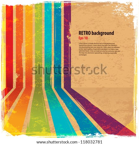 Rainbow abstract line with vintage background - stock vector