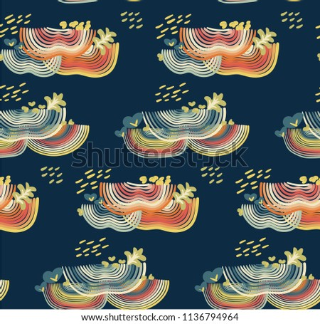 Rainbow abstract seamless pattern on dark blue background