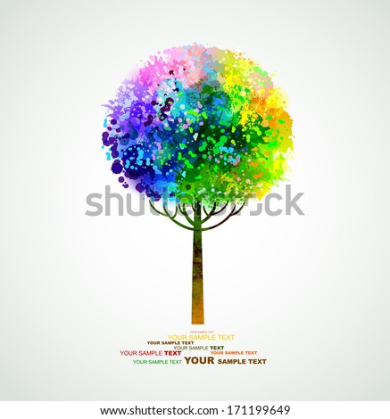 rainbow abstract tree forming by blots  - stock vector