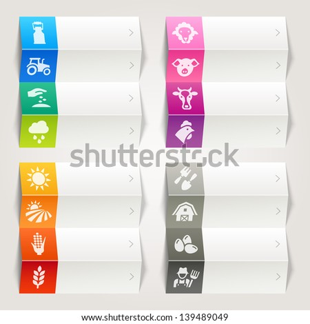 Rainbow - Agriculture and Farming icons / Navigation template - stock vector