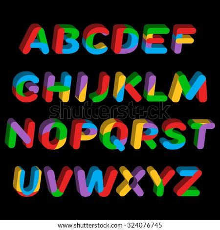 Rainbow alphabet 3d. Vector illustration. - stock vector