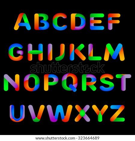 Rainbow alphabet. Vector illustration - stock vector