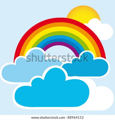 rainbow and clouds with sun, landscape. vector