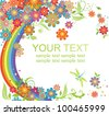 Rainbow and flowers - stock vector