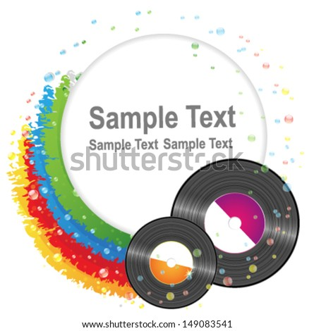 Rainbow and vinyl records. Conceptual  music background - stock vector