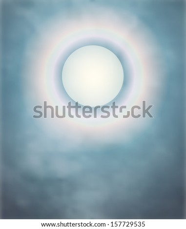 Rainbow around the moon on a misty night;  a vector mist layer created with a gradient mesh