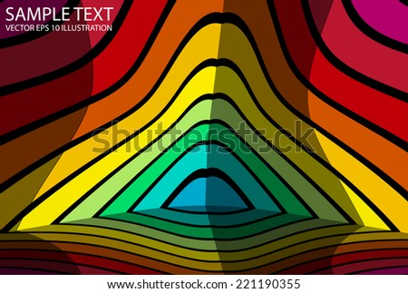 Rainbow background abstract reflected illustration - Vector colorful striped and reflected  background template - stock vector