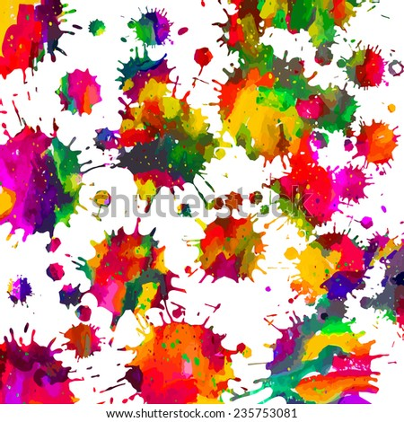 Rainbow background of watercolor paint stains. Vector - stock vector