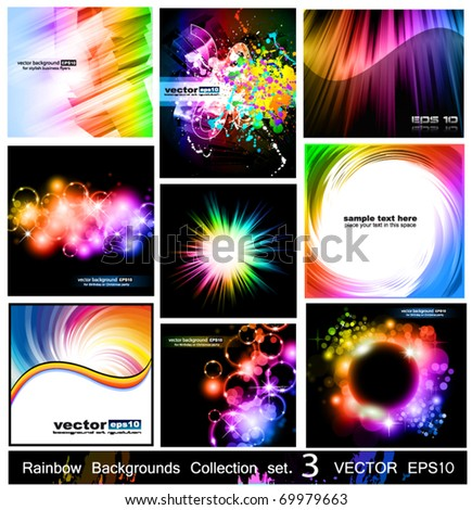 Rainbow Backgrounds Collection - 9 Flyer or brochures with colorful abstract motive - Set 3 - stock vector