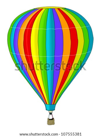 Rainbow balloon with hot air isolated on white - stock vector