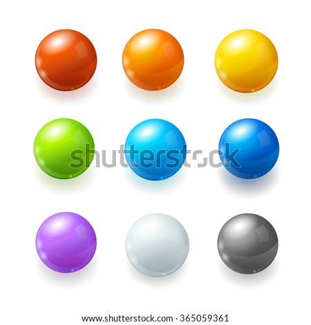 Rainbow Balls Set on a White Background. Vector illustration - stock vector