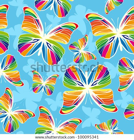 Rainbow butterflies on blue background - stock vector