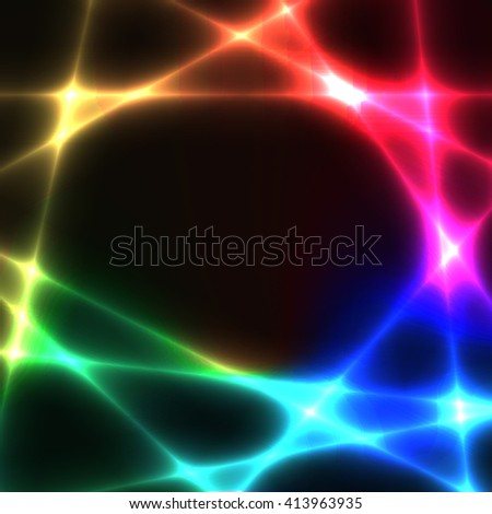 Rainbow chaotic lines on dark background. Template with spectrum laser lines. Place for your text in centre. - stock vector