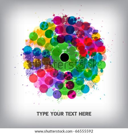 Rainbow circle in grunge style - stock vector