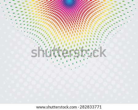 Rainbow circle shape with halftone effect - stock vector