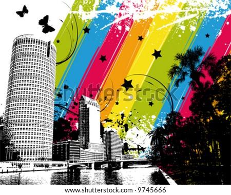 Rainbow City - stock vector