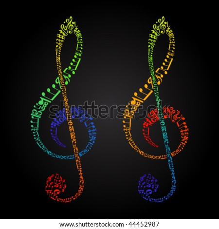 rainbow clefs from sheet music symbols - stock vector