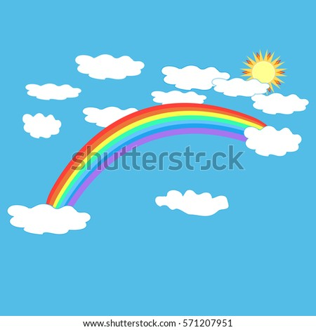 Rainbow cloud, sun on sky. Illustration colorful spectrum arc. Colorful symbol spring, summer, rain. Color bow mark clean nature. Template for t shirt, card, poster. Design element Vector illustration