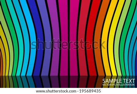 Rainbow color background  abstract illustration reflected - Vector color striped background  template - stock vector