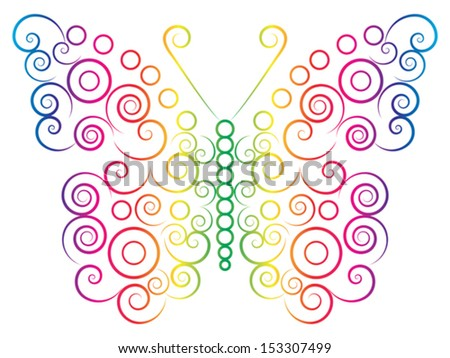 rainbow color butterfly drawn with spirals and circles