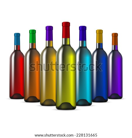 Stock images similar to id 60597565 three plastic bottle of water - Empty colored wine bottles ...