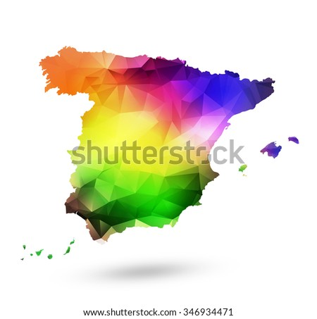 Rainbow color map of Spain with geometric design - stock vector