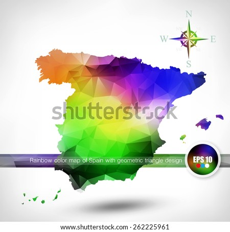 Rainbow color map of Spain with geometric triangle design - stock vector