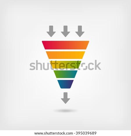 rainbow color marketing funnel - vector illustration. eps 10 - stock vector