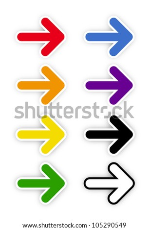Rainbow color on arrows on white background - stock vector