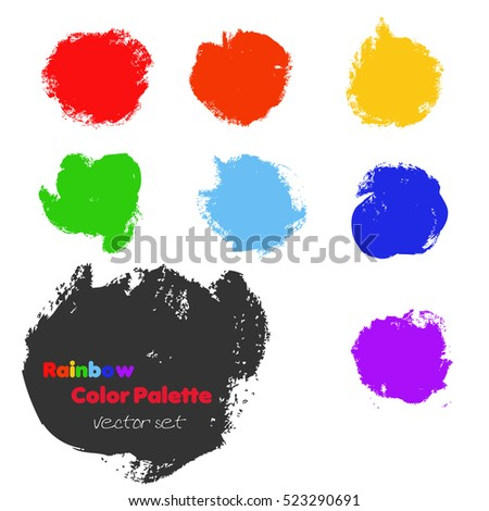 Rainbow color palette vector set. Brush strokes collection